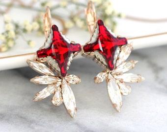 Ruby Earrings, Ruby Red Bridal Earrings, Swarovski Red Ruby Earrings, Ruby Drop Earrings, Bridesmaids Earrings, Dark Red Crystal Earrings
