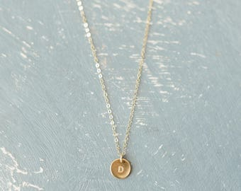 """Custom Small Disc Necklace, Hand-Stamped, Dainty Necklace, 3/8"""" Disc, 14k Gold Fill, Rose Gold Fill or Sterling Silver, Initial Necklace"""