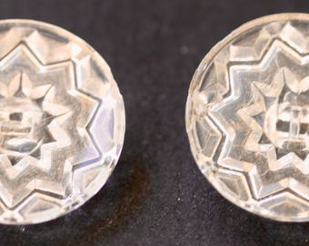 Eight Pointed Star Clear Glass Button