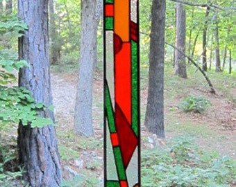 Stylish stained glass panel gift abstract glass art window decor suncatcher stained glass window art glass