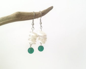 50% OFF - Emerald green and white button earrings - Short dangle earrings - Stacked button jewelry Original recycled jewelry bridesmaid gift