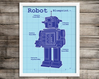 Robot Art Print.  8X10 Robot Blueprint decor Print.  Robot Wall Decor ~ Digital download.