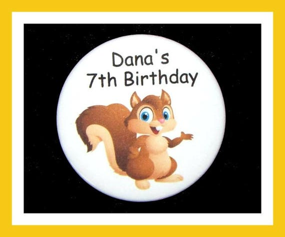 Birthday Party Favors, Personalized Button,Squirrel Pin Favor,School Favors,Kids Party Favor,Boy Birthday,Girl Birthday,Pins,Tag Set of 10