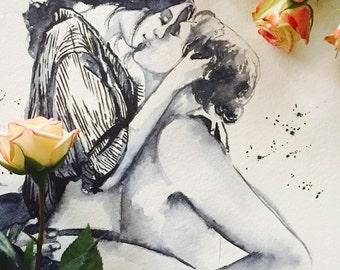 Love Kiss Romance Watercolor Illustration - Night Glow - Romantic Bliss Collection - Lana's Art - Love Kiss Romance