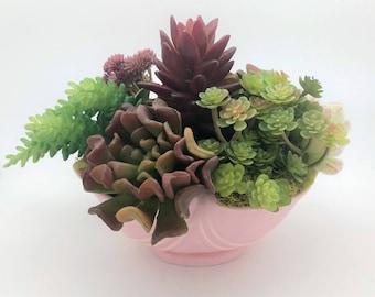 Faux Succulent Pink Weller Pottery Bowl