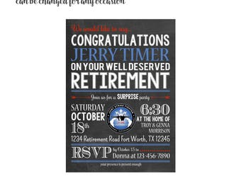 Retirement with or without logo/ design Invitation 4x6 or 5x7 digital you print your own- Design 64