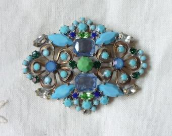 Superb vintage czech  green,blue,aquamarine and turquose rhinestone  pin brooch