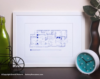 Brady Bunch House Floor Plan - TV Show Floor Plan - BluePrint for Residence of Carol and Mike Brady - 1st Floor  **As Seen on AOL News**