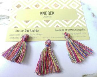 "Set of 10 tassels ""indian"" cotton / multicolor / 30 mm"