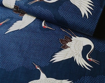 Japanese fabric, traditional crane pattern, blue background, cotton and linen 110 x 50 (270B)