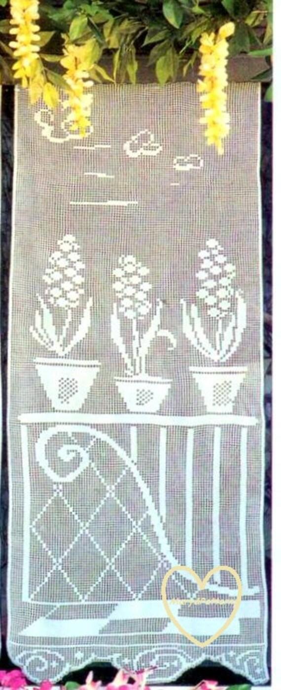 Schema pdf tende filet a uncinetto ringhiera 2 decorazioni - Tendine filet per bagno ...