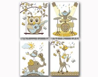 Music nursery art Neutral baby girl room decor boy artwork kids wall decoration brown yellow poster elephant owl giraffe guitar violin drums