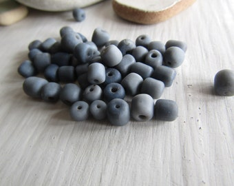 grey  glass seed bead, small rustic matte tone, irregular spacer barrel tube, New Indo-pacific indonesia  3 to 5mm ( 15 grams )  7abmix