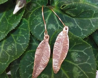Hammered copper leaf earrings, Forged copper earrings, handmade copper earrings, copper earrings, Health benefits of copper, free shipping