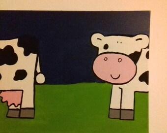 Children's room art, paintings for children's room, canvas cow and sheep, painting cow and sheep,