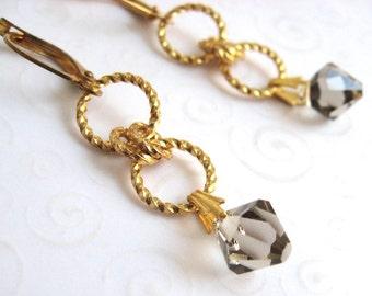 Crystal Dangle Earrings, Greige Swarovski Elements Crystal Bicone Earrings, Gray Crystal Earrings, Fashion Earrings, Fashion Beaded Jewelry