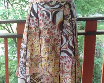 Vintage 1990's Fully Lined A-Line Skirt In Autumn Shades