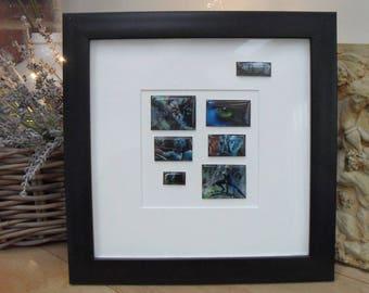 COLD ENAMELLED AVATAR Framed Art, Resin blocks, Black Contemporary Box Frame, Handmade