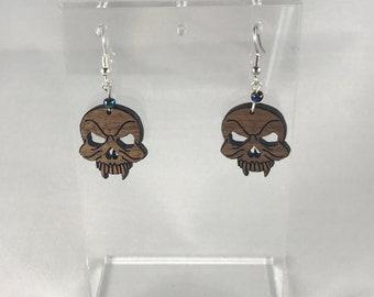 Walnut Vampire Skull Earring
