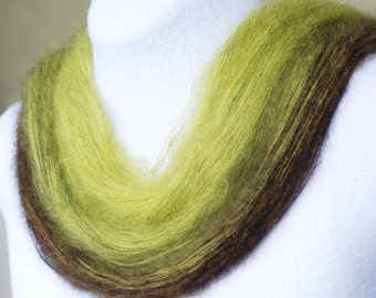 Kid Mohair Silk Gradient Yarn, 260 yards, Lace Weight, Moss Green, Black, Lot #25
