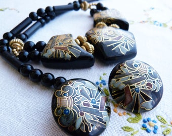 Black and gold hand painted resin jewelry set - Japan