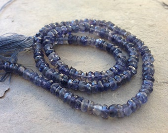 Iolite Rondelles, Hand Faceted, Faceted Iolite Rondelles, 4mm approx, 14 inch strand