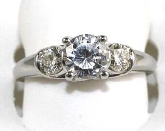 1.19Ct H/VS2 Round Cut Diamond Solitaire Engagement Ring 18k White Gold Sz 7