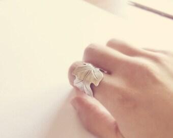 Leaf Ring, Silver Ring, Silver Leaf, Cuff Ring, Rustic Ring, Boho Jewelry, Oak Leaf Ring