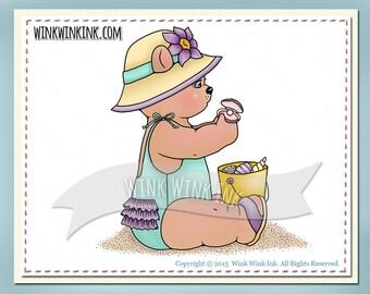 Digital stamp - Pearl - beach bear summer fun printable digi image