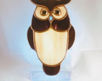 Owl suncatcher - stained glass ornament decoration - brown beige copper patina