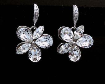 christmas prom bridal wedding bridesmaid gift Swarovski clear white multi shape flower foiled crystal rhinestone rhodium cz hook earrings