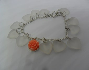 Extraordinary Heart and flower bracelet for special friend or yourself