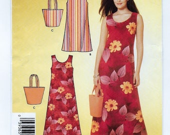 "A Sleeveless, Scoop Neck, A-Line Dress & Tote Sewing Pattern for Women: Uncut - Sizes 8-10-12-14-16-18, Bust 31-1/2""-40"" ~ Simplicity 4157"
