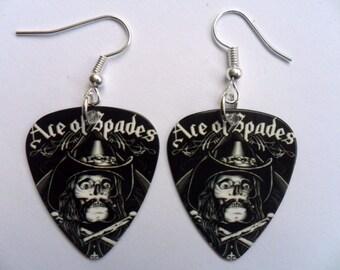 Handmade MOTORHEAD LEMMY Ace of Spades Guitar Pick // Plectrum Earrings