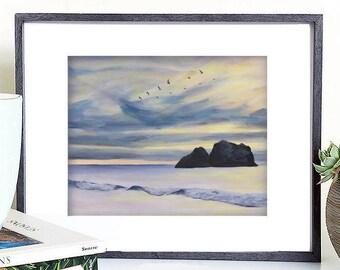 Ocean digital art print, seacape printable art, ocean painting, ocean illustration, sunset digital art, sunset painting, sunset illustration