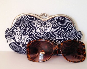 Large sunglasses case, sunglass case, Japanese Koi in navy, eyeglass case, sunglass holder, small clutch, coin purse, case for sunglasses