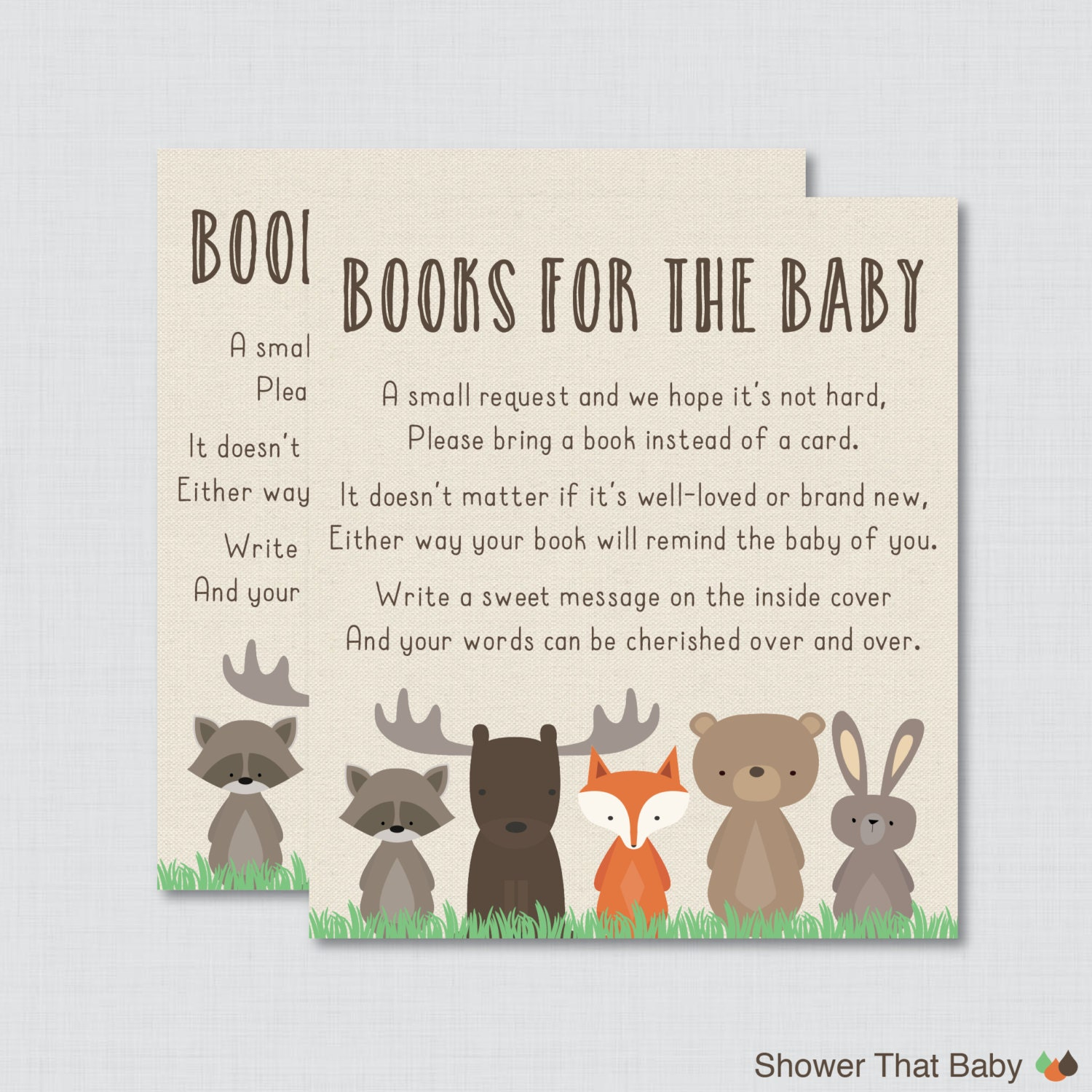Woodland baby shower bring a book instead of a card invitation for Baby shower game booklet template
