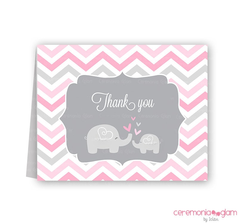 Pink And Grey Elephant Baby Shower Thank You Cards Chevron