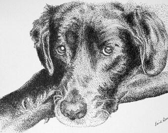 Instant Download of Black Labrador Retriever Pointillism Drawing