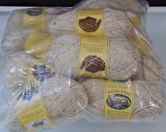 Yarn Lot Lion Brand 10 Skeins Wheat  Color 402  Wool Ease Soft Lambs Wool and Acrylic Easy Care  Knitting Yarn