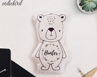 Personalised Bear Plush Rattle or Pillow, baby rattle, plush toy, Bear pillow, Monochrome, Stars, keepsake, Baby shower gift
