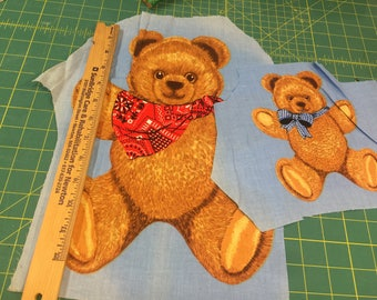 COUNTRY BEARS (2) fabric applique panel Wamsutta Hallmark Cards