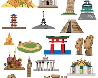 Landmark clipart,landmark clip art,World landmarks Design digital clipart set,clipart commercial use, world landmarks clipart