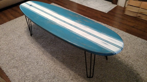 Surfboard Coffee Table Wooden Weathered Surfboard Table Surf