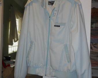 Vintage Men's 1980's Members Only Light Blue Racer Bomber Jacket Size 44