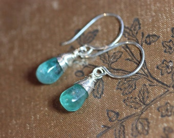 Apatite Earrings Aqua Blue Gemstone Earrings Sterling Silver Wire Wrapped Briolette Earrings Rustic Jewelry