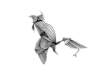 Crowz, Small Geometric 7 x 5 Drawing, Black and White