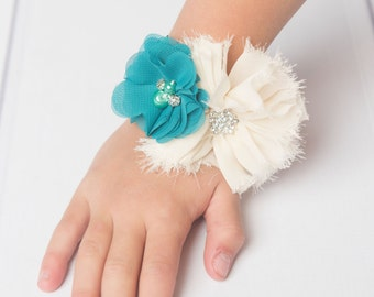 Teal Corsage, ivory corsage, wedding corsage, prom corsage, mommy to be corsage, baby shower corsage girl, bridal corsage, flower corsage
