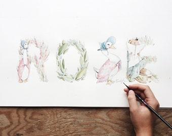 Jemima Puddle Duck Name Art- Nursery Art- Jemima Puddle Duck Theme- Handmade- Home Decor- Beatrix Potter