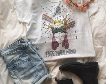 Rainbow Free Your Mind T-Shirt  © Design by Euclea Tan